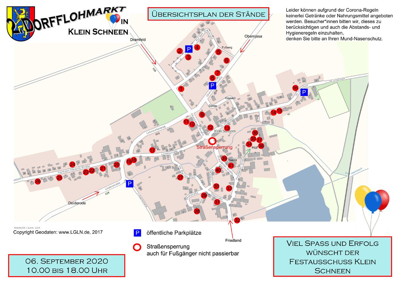 Karte Dorfflohmarkt Klein Schneen 2020