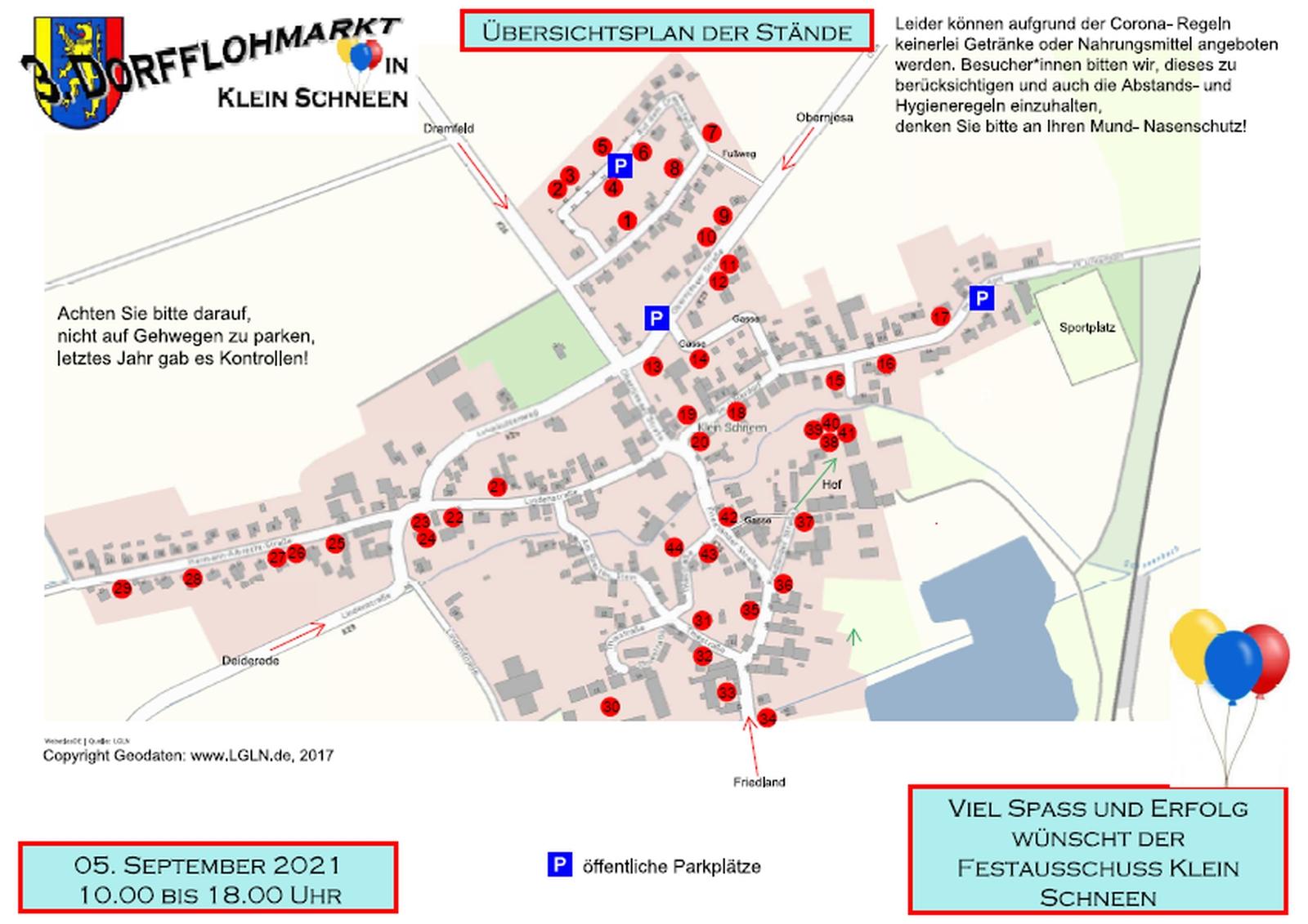 3. Dorfflohmarkt Klein Schneen: Übersichtplan der Stände